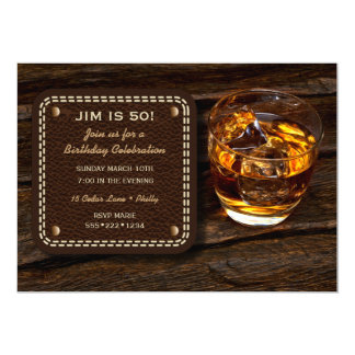 Masculine Whiskey Scotch Wood Leather Card