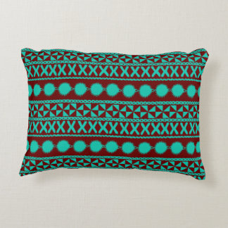 Masi Pattern in Teal and Brown Acent Decorative Pillow