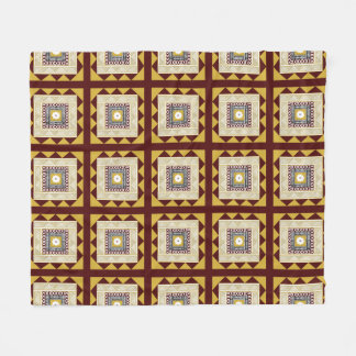 Masi Quilt Block-Golden Brown Fleece Blanket