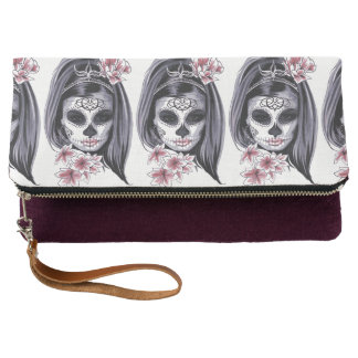 Mask Carnival Day of the Dead Floral Woman Clutch