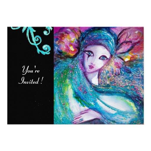 MASK IN BLUE Elegant Masquerade Party,Teal Black Custom Invite