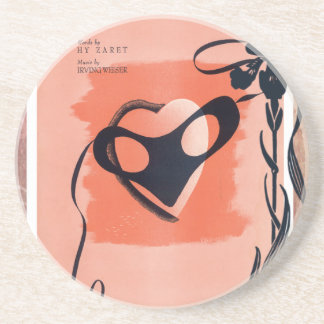 Mask Masquerade Peach Black Vintage Sheet Music Drink Coasters