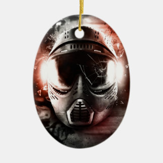 Mask of Action Paintball M-2 Ceramic Oval Ornament
