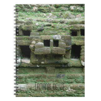 Mask of Maya Jaguar Temple Lamanai Belize Notebook