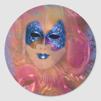 Mask venetian masquerade costume party classic round sticker