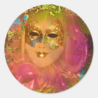 Mask venetian masquerade costume party classic round sticker