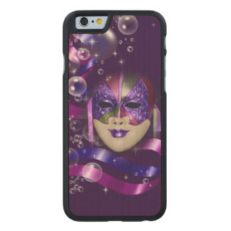 Mask venetian purple ribbons bubbles carved maple iPhone 6 case