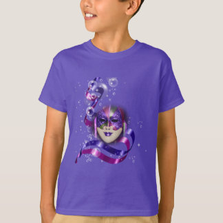 Mask venetian purple ribbons bubbles T-Shirt