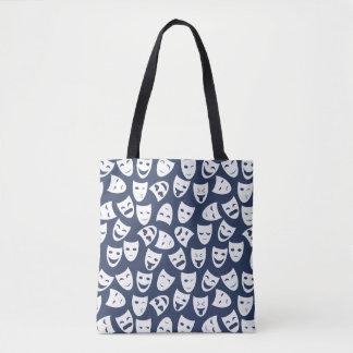 Mask w/ Different Emotions Pattern Tote Bag