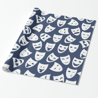 Mask w/ Different Emotions Pattern Wrapping Paper