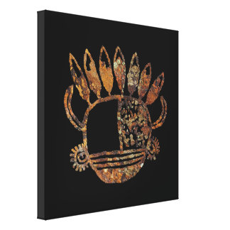Mask with horns and eagle feathers canvas print