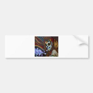 Masked lady graffiti bumper sticker