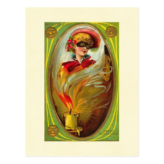 Masked Lady Halloween Greetings Postcard