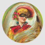 Masked Lady Halloween Greetings Classic Round Sticker