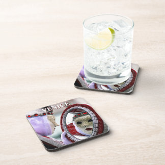 Masked Lady With Mirror Drink Coaster
