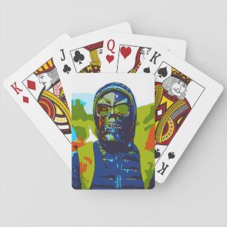 Masked man playing cards