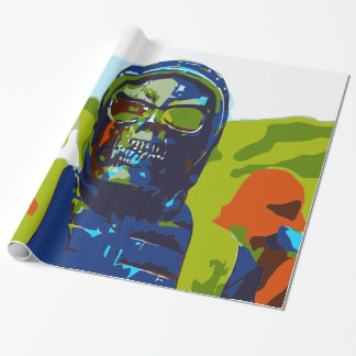 Masked man wrapping paper