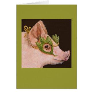 Masked piggy card