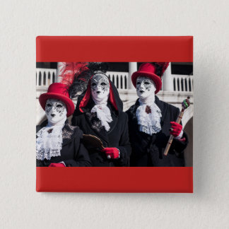 Masks during the Venice carnival 2 Inch Square Button