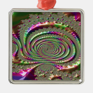 Masks of Jealousy Fractal Metal Ornament