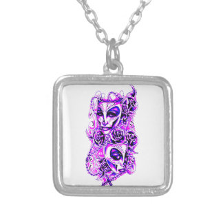 Masks Silver Plated Necklace