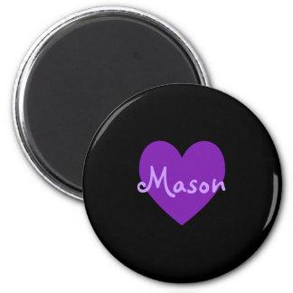 Mason in Purple 2 Inch Round Magnet
