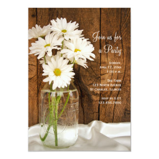 "Mason Jar and Daisies Country All Occasion Party 5"" X 7"" Invitation Card"
