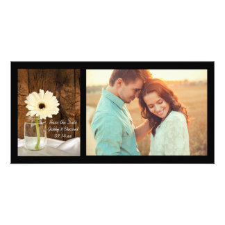 Mason Jar and Daisy Country Wedding Save the Date Card
