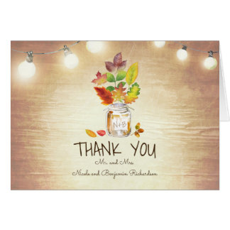 Mason Jar and Fall Leaves Rustic Wedding Thank You Card