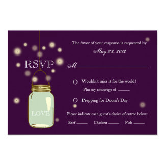 Mason Jar and Fireflies Heart RSVP Invitation