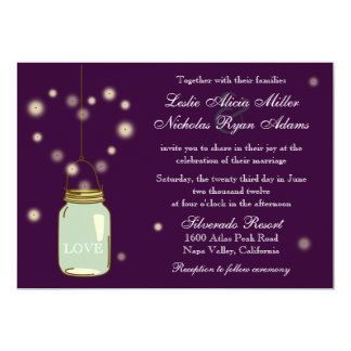 Mason Jar and Fireflies Heart Wedding Invitation