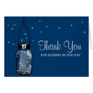Mason Jar and Fireflies Note Card