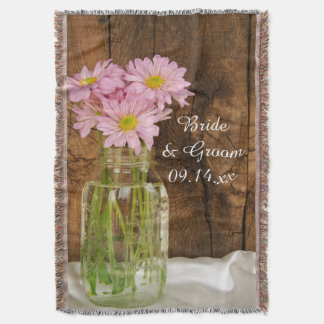 Mason Jar and Pink Daisies Country Wedding Throw