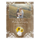 Mason Jar and Sunflower Rustic Photo Save the Date Postcard