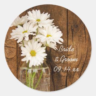 Mason Jar and White Daisies Barn Wedding Classic Round Sticker