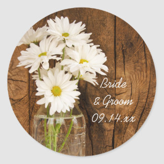 Mason Jar and White Daisies Barn Wedding Round Sticker