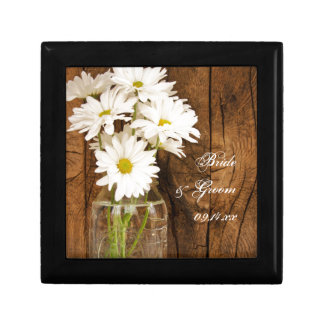 Mason Jar and White Daisies Country Barn Wedding Gift Box