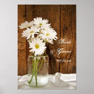 Mason Jar and White Daisies Country Barn Wedding Poster