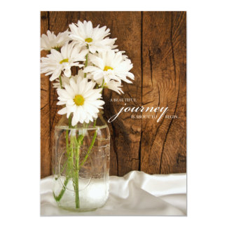 "Mason Jar and White Daisies Country Wedding 5"" X 7"" Invitation Card"
