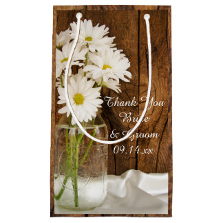 Mason Jar and White Daisies Thank You Wedding Small Gift Bag