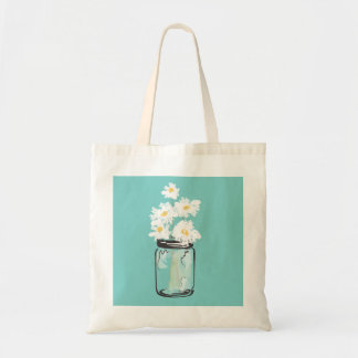 Mason Jar and White Daisies Tote Bag