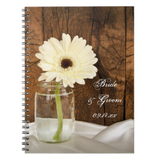 Mason Jar and White Daisy Country Barn Wedding Spiral Notebook
