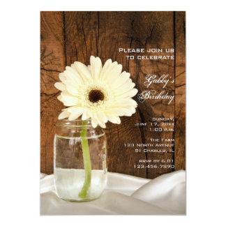 """Mason Jar and White Daisy Country Birthday Party 5"""" X 7"""" Invitation Card"""