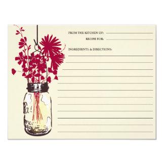 Mason Jar and Wildflowers Recipe Card