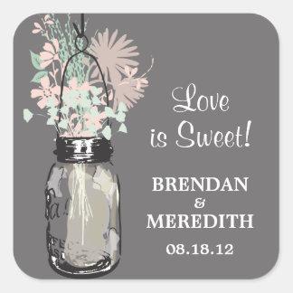 Mason Jar and Wildflowers Wedding Square Sticker