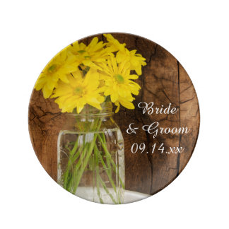 Mason Jar and Yellow Daisies Barn Wedding Keepsake Plate