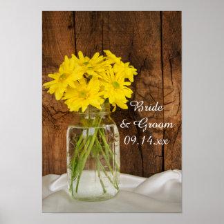 Mason Jar and Yellow Daisies Country Barn Wedding Poster