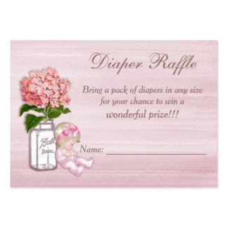 Mason Jar, Baby Girl, Pink Hydrangea Diaper Raffle Large Business Card