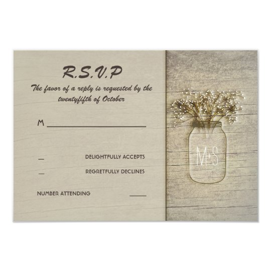 Mason Jar Baby's Breath Rustic Barn RSVP Cards