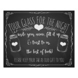 Mason jar bar sign wedding chalkboard